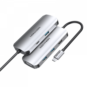 מתאם MULTI-FUNCTION TYPE-C TO HDMI/VGA/USB3.0*3/PD DOCKING STATION 0.15M GRAY METAL TYPE VENTION