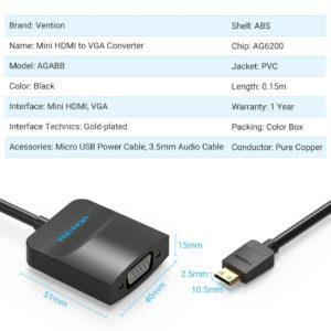 מעביר MICRO HDMI TO VGA WITH FEMALE MICRO USB AND AUDIO PORT 0.15M BLACK VENTION